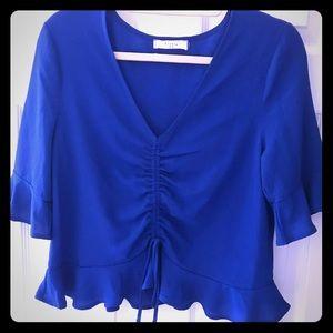 Women's Blue V- Neck Designer blouse